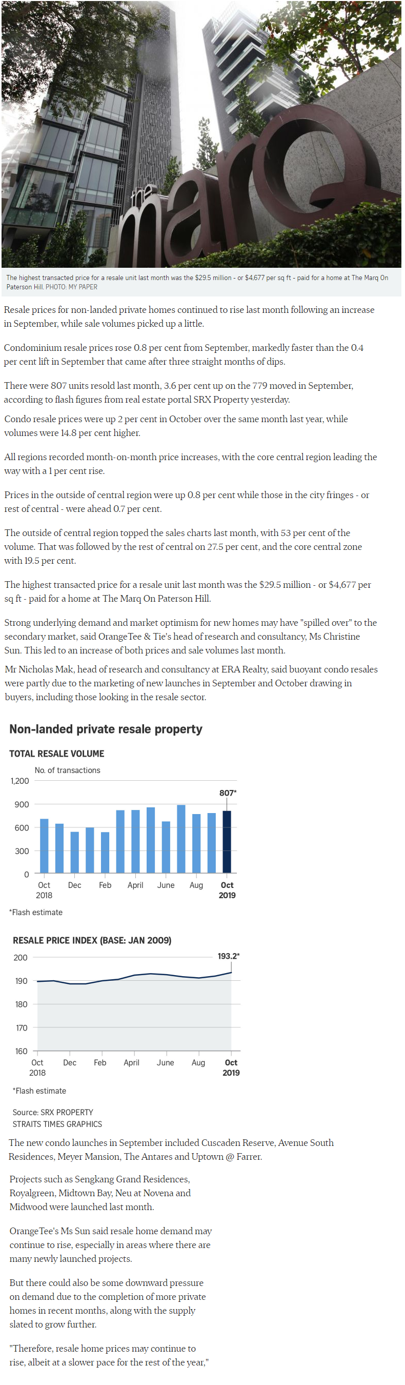 Canninghill Piers - Singapore Condo Resale Prices Up 0.8% Last Month